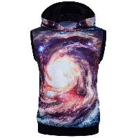 3D Galaxy Print Sleeveless Hoodie - COLORMIX