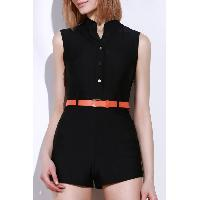 Stylish Stand-Up Collar Sleeveless Slimming Button Design Women's Romper - BLACK