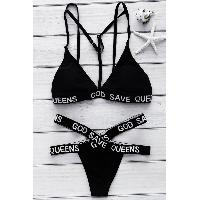 Sexy Letter Printed Cut Out Crossed Bikini Set For Women - BLACK