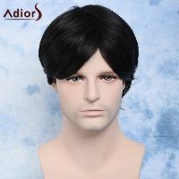 Handsome Natural Black Straight Synthetic Vogue Short Side Bang Capless Wig For Men - BLACK