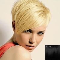 Fashion Women's Fluffy Human Hair Side Bang Short Pixie Cut Wig - JET BLACK