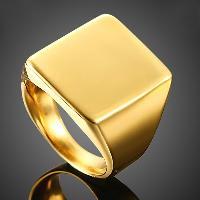 Titanium Steel Square Ring - GOLDEN