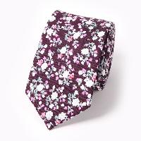 Tiny Floral Cluster Pattern 6CM Width Tie - WINE RED