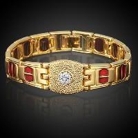Vintage Rhinestone Alloy Chain Bracelet - GOLDEN