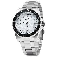Winner W016 - 1 Automatic Mechanical Movement Men Watch Stainless Steel Band Date Display - WHITE