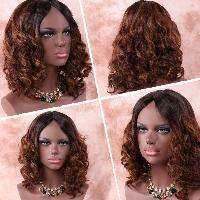 Medium Asymmetric Curly Middle Part Brown Mixed Synthetic Wig - COLORMIX