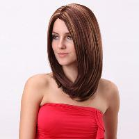 Medium Silky Striaght Bob Side Parting Colormix Synthetic Wig - COLORMIX
