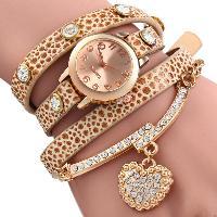 Vintage Leopard Leather Wrap Bracelet Wrist Women Watch with Heart Pendant Rhinestone - BEIGE