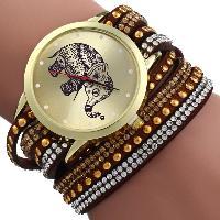Women Wrist Quartz Watch Elephant Rivet Bracelet Braided Winding Wrap - BROWN