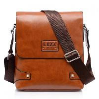 Faux Leather Flap Messenger Bag - BROWN