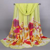 Chic Tie-Dyed Flower Pattern Chiffon Scarf For Women - APPLE GREEN