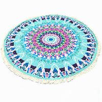Tassel Fringing Tribal Geometric Totem Yoga Mat Gypsy Cotton Tablecloth Light Blue Round Beach Throw - LIGHT BLUE