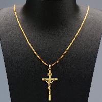 Vintage Crucifix Hollow Out Pendant Necklace For Men - GOLDEN