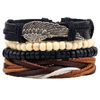Wing Braided Bead Bracelets - BLACK
