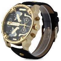 Shiweibao A3137 Double Movt Quartz Watch Male Leather Band Wristwatch - BLACK