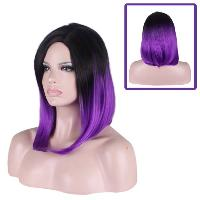 Medium Side Parting Straight Tail Adduction Gradient Color Cosplay Synthetic Wig - BLACK/PURPLE