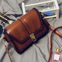 Metal Detail Flap Crossbody Bag - BROWN