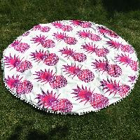 Chic Pineapple Pattern Small Pompon Tassel Yoga Mat Gypsy Cotton Tablecloth Round Beach Throw - RED