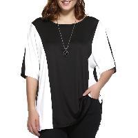 Plus Size Color Block Blouse - WHITE/BLACK