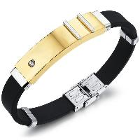 Rhinestone Stainless Steel Silicone Bracelet - GOLDEN