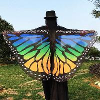 Butterfly Wing Chiffon Pashmina with Straps - BLUE/YELLOW