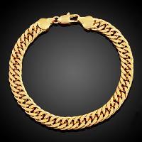 Simple Style Solid Color Link Chain Bracelet For Men - GOLDEN