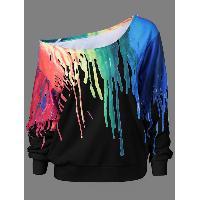 Paint Drip Skew Collar Sweatshirt - BLACK