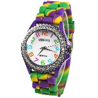 Geneva Quartz Watch 12 Arabic Number Indicate Rubber Watch Band for Women - Green - GREEN