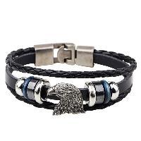 Eagle Head Faux Leather Braid Bracelet - BLACK