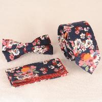 Casual Oil Painting Flower Pattern Tie Pocket Square Bow Tie - CADETBLUE