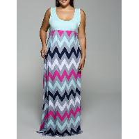 Plus Size Empire Waist Zig Zag Dress - LIGHT BLUE