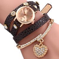 Vintage Leopard Leather Wrap Bracelet Wrist Women Watch with Heart Pendant Rhinestone - BROWN