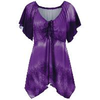 Plus Size Empire Waist Butterfly Sleeve Blouse - PURPLE