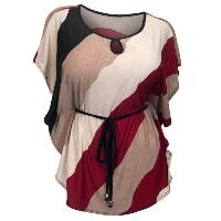 Casual Bat Sleeve Striped Women's Plus Size T-Shirt - WINE RED