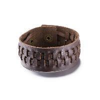 Punk Style Woven Faux Leather Bracelet For Men - BROWN