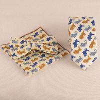 Cartoon Cat Print Tie Bowtie Handkerchief Set - BEIGE