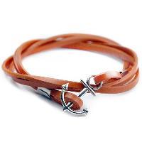 Anchor Multilayer PU Leather Chain Wrap Bracelet - ORANGEPINK