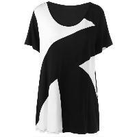 Plus Size Longline Two Tone Tunic T-Shirt - WHITE/BLACK