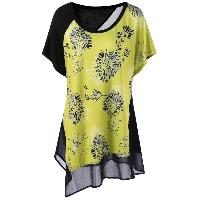 Plus Size Batwing Sleeve Floral Asymmetrical T-Shirt - YELLOW/BLACK