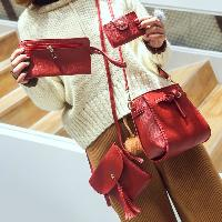 Buckle Strap Detail 4 Piece Crossbody Bag Set - RED