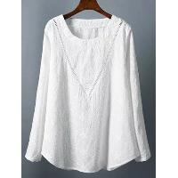 Long Sleeve Plus Size Tunic Tee - WHITE