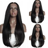Long Middle Part Tail Adduction Lace Front Synthetic Wig - BLACK