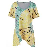 Tie Dye Overlap Plus Size T-Shirt - YELLOW