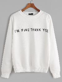 Ivory Slogan Print Casual Sweatshirt