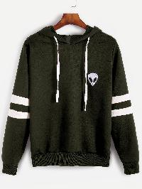Army Green Varsity Striped Alien Embroidered Hooded Sweatshirt