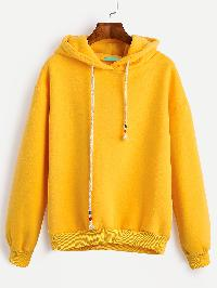 Yellow Drop Shoulder Drawstring Hooded Sweatshirt