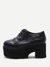 Laser Cutting Lace Up Platfrom PU Shoes