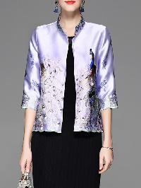 Purple Peacock Embroidered Coat
