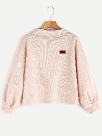 Funnel Neck Drop Shoulder Lantern Sleeve Patch Sweatshirt
