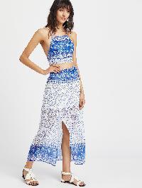 Paisley Print Crisscross Back Cami Top With Slit Skirt